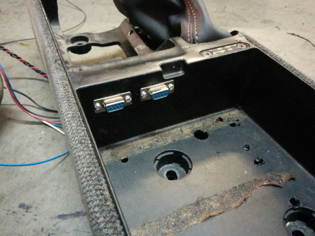 Dual serial connectors installed into the center console.