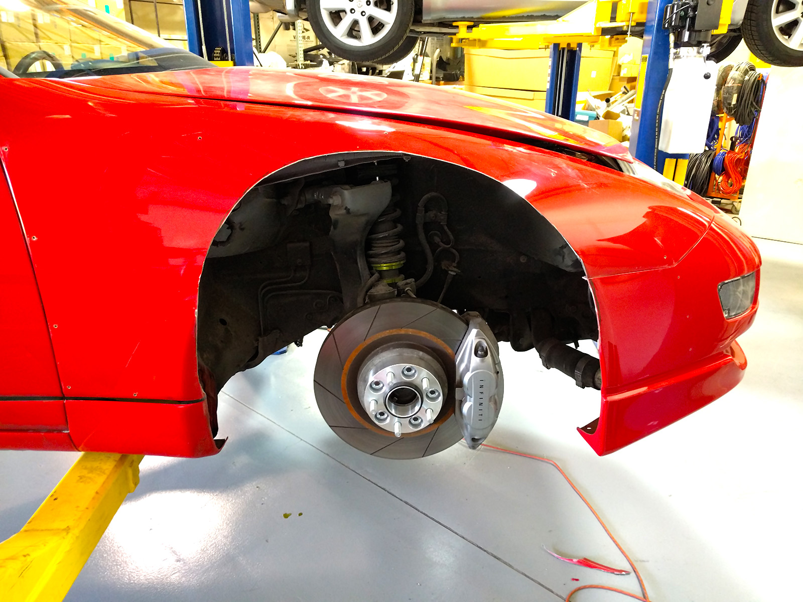 Front fenders opened up a lot more to allow the wheel to swing through its full range of motion.