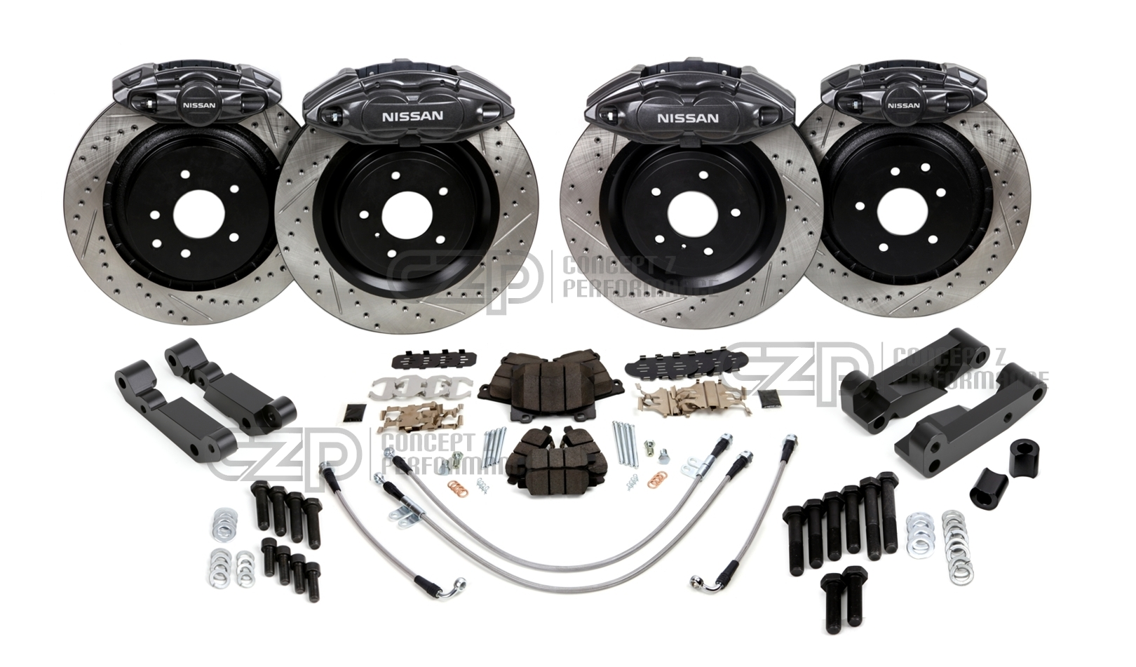 Big Brake Upgrade Brackets For 89-98 Nissan 240SX to 300ZX Calipers 350Z Rotors