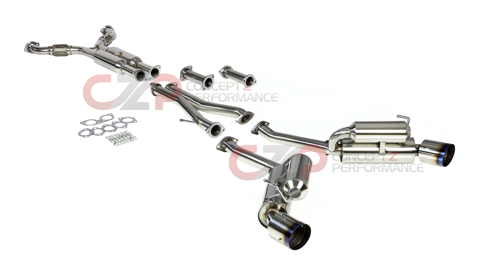DNA Motoring True Dual Catback Exhaust System w/ Burnt Tips - Nissan 350Z 03-08 Z33
