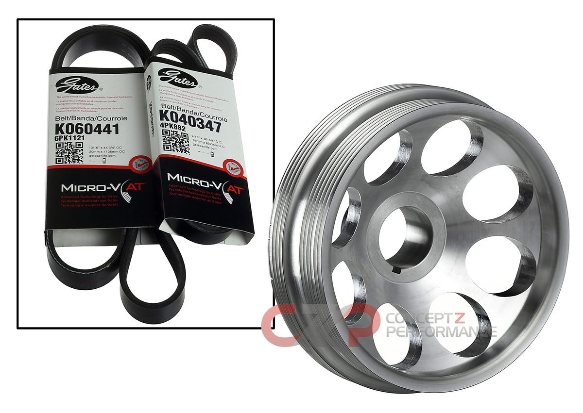 Unorthodox Racing Crank Pulley with Belts: Polished, Stock Sized VQ35DE - Nissan 350Z / Infiniti G35