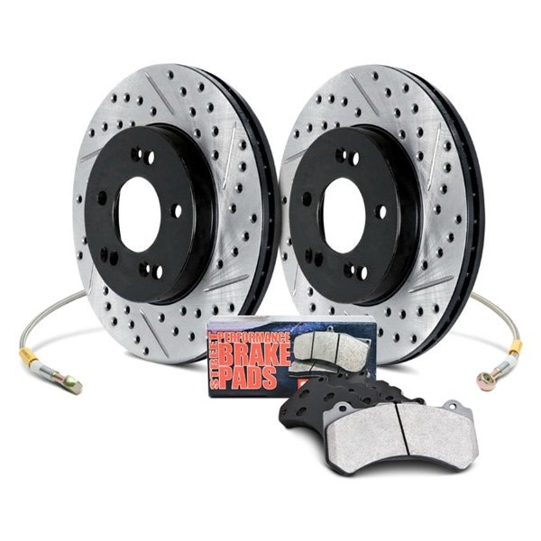 Stoptech 86.646.07224 Stage 2 Package w/ Aero 2pc Slotted Rotors w/ Brembo Nissan 350Z 03-08 Z33