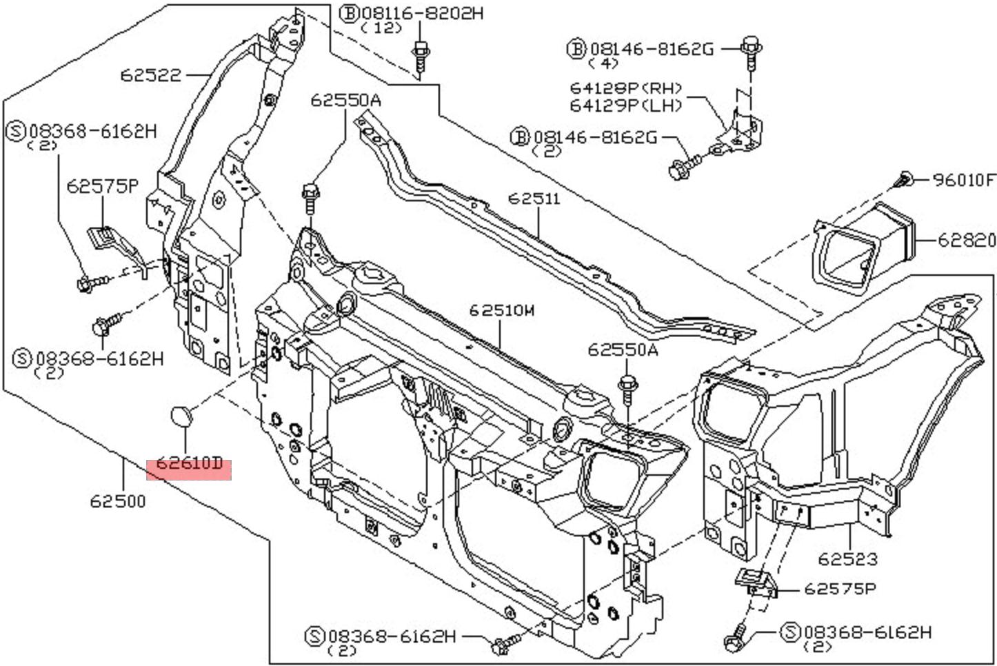 Nissan Infiniti Nissan Oem Radiator Support Core Blind Plug Cover Nissan  350Z Performance 350z Radiator Diagram