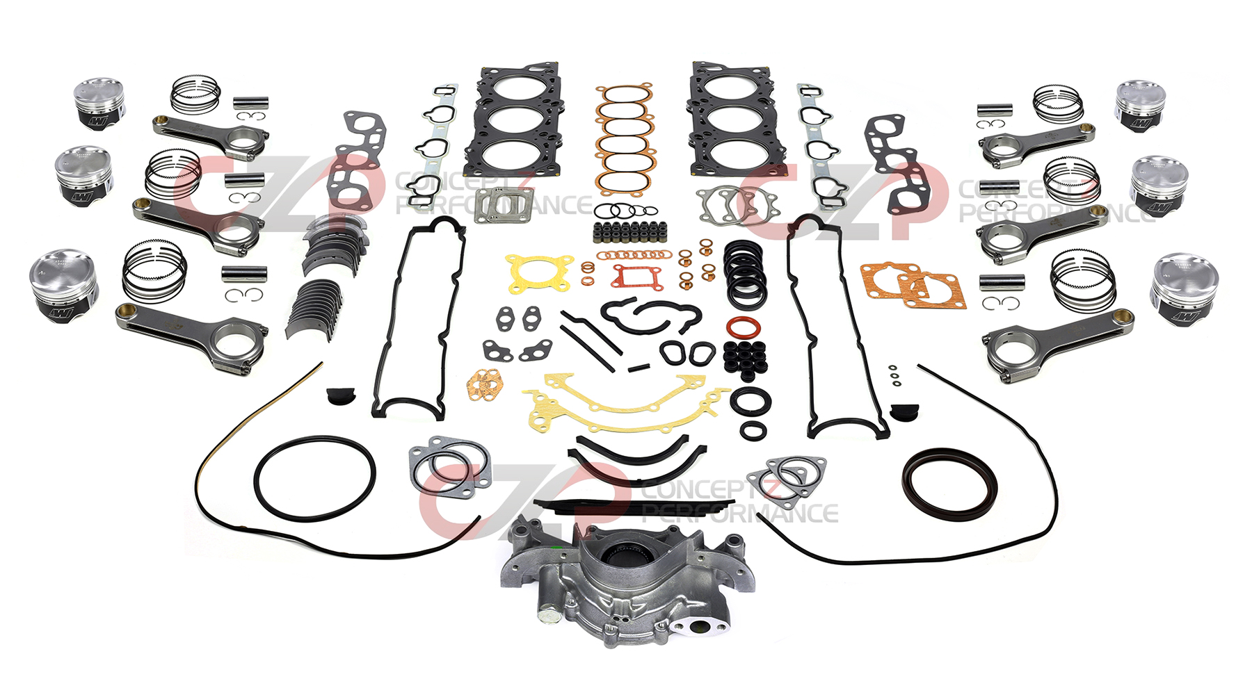 Wiseco Piston & Eagle Connecting Rod, Complete Engine Rebuild Kit Package - Nissan 300ZX Z32