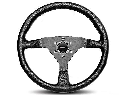 Momo MCL32BK3B Monte Carlo Black Leather Red Stitch Steering Wheel 320mm