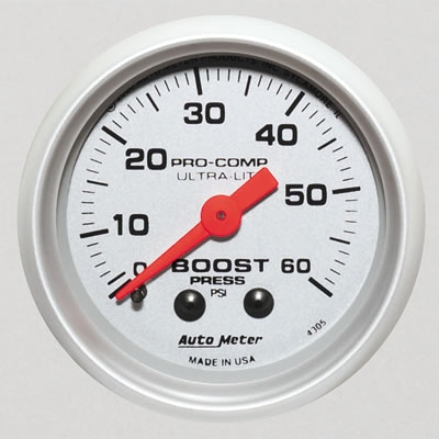 Autometer 4305 Ultra-Lite Mechanical Boost Gauge 60 PSI - 52mm