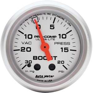 AutoMeter 4301 Ultra-Lite Mechanical Boost Gauge 20 PSI - 52mm