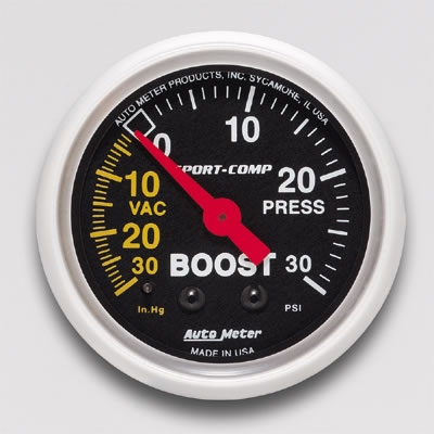 Autometer 3303 Sport-Comp Mechanical Boost Gauge 30 PSI - 52mm