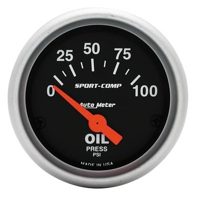 AutoMeter 3327 Sport-Comp Electronic Oil Pressure Gauge 100 PSI - 52mm
