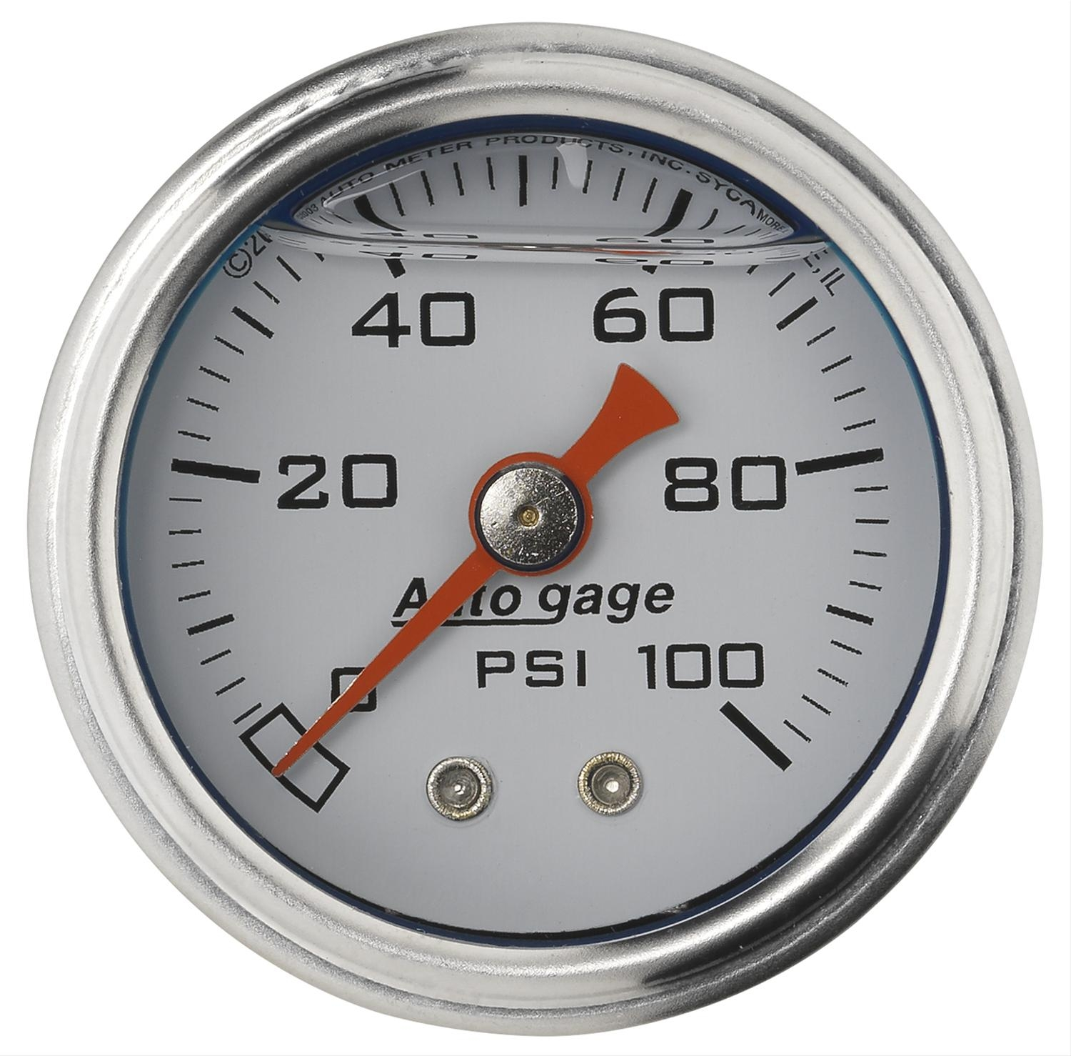 "AutoMeter 2177 Liquid Filled Mechanical Fuel Pressure Gauge 100 PSI - 1.5"" White"
