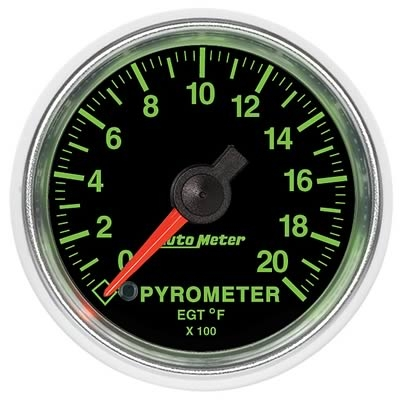 AutoMeter 3845 GS Electronic Pyrometer Gauge 0-2000 Deg F - 52mm