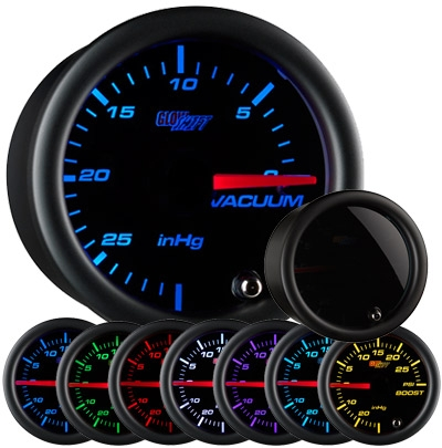 GlowShift GS-T703 Tinted 7 Color Vacuum Gauge - 52mm