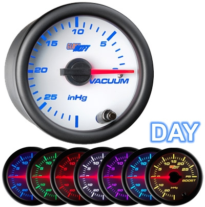 GlowShift GS-W703 White 7 Color Vacuum Gauge - 52mm