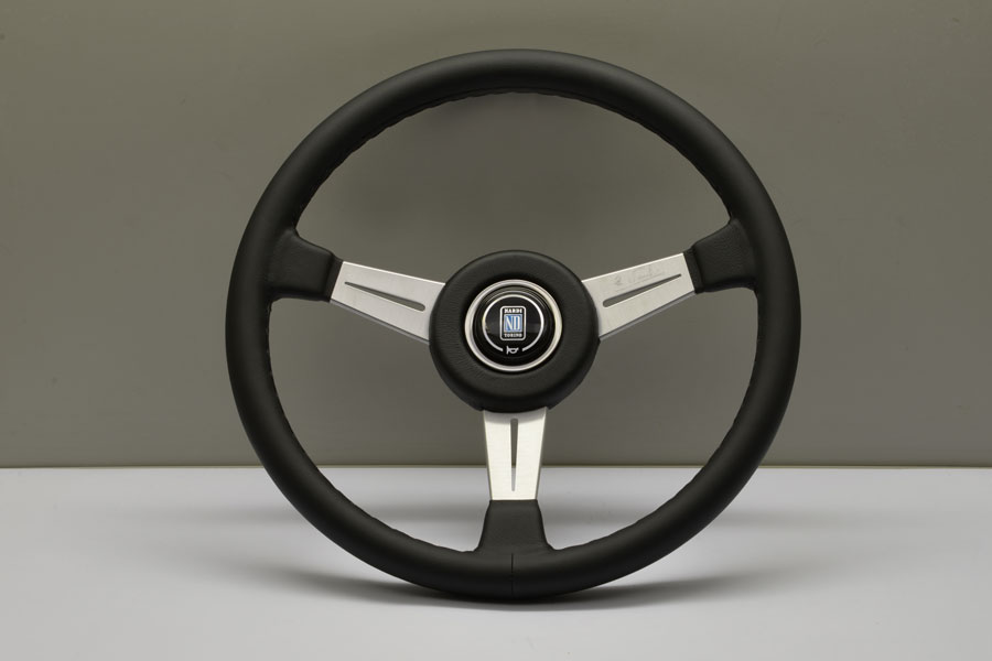 Nardi 6051.36.6901 Classic Steering Wheel Black Leather w/ Satin Silver Spokes & Red Stitching - 365mm