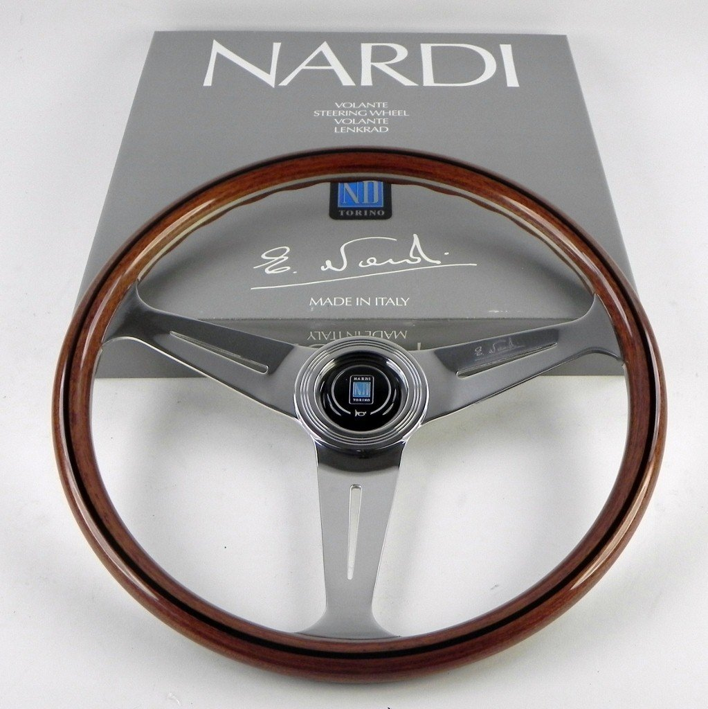 Nardi 5061.39.3000 Classic Wood Steering Wheel Polished Spokes w/ Wooden Grip - 390mm