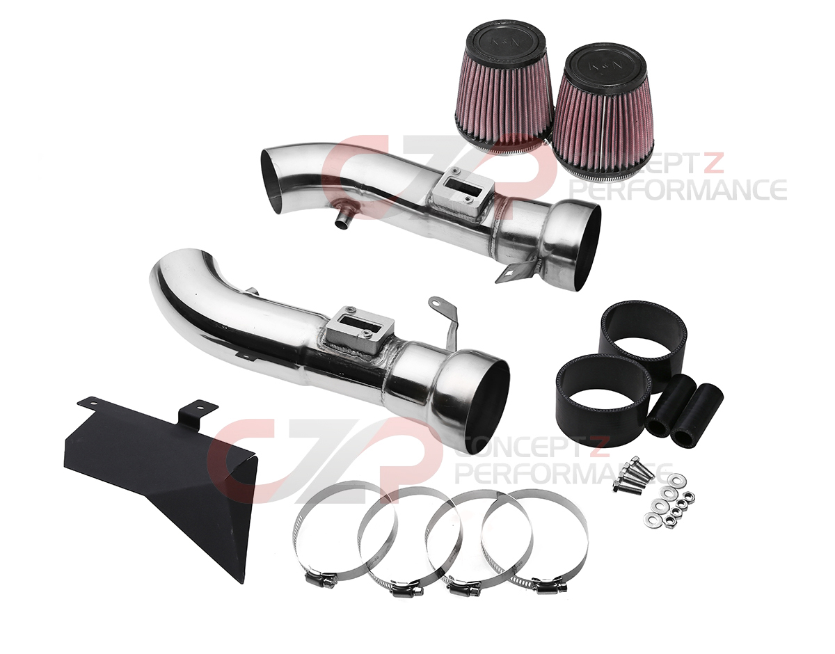 Top Speed Pro-1 Polished T304 Stainless Steel Dual Intake Air Filter Kit - Nissan 370Z Z34