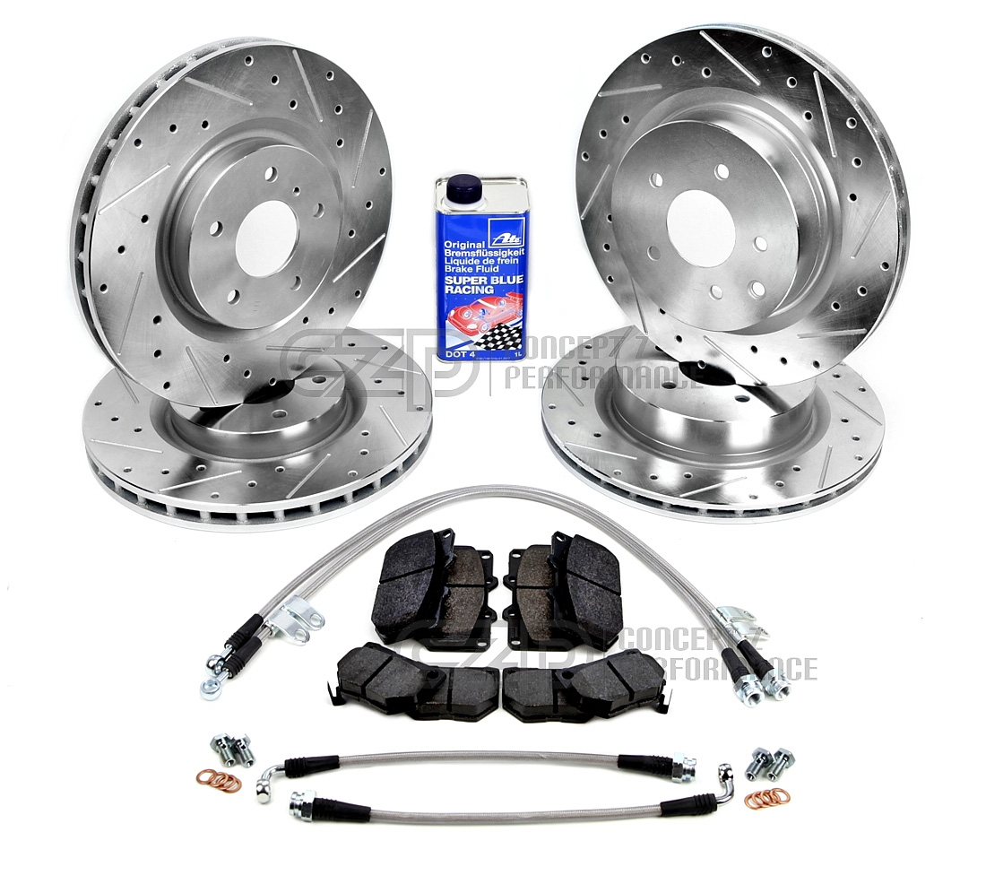 "CZP Complete Performance Brake Kit, Front and Rear Rotors, Pads, Lines, Fluid w/ Optional: CZP 12.75"" Upgrade - Nissan 300ZX Z32"