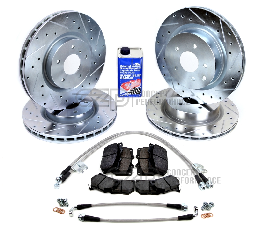 Infiniti 370Z Fit Nissan EX35 Front Rear Blank Brake Rotors+Ceramic Brake Pad