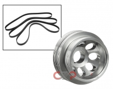 Unorthodox Racing CU1061A Crank Pulley & Belts: Underdrive, Polished - Nissan 300ZX 90-96 NA / 94-96 TT Z32