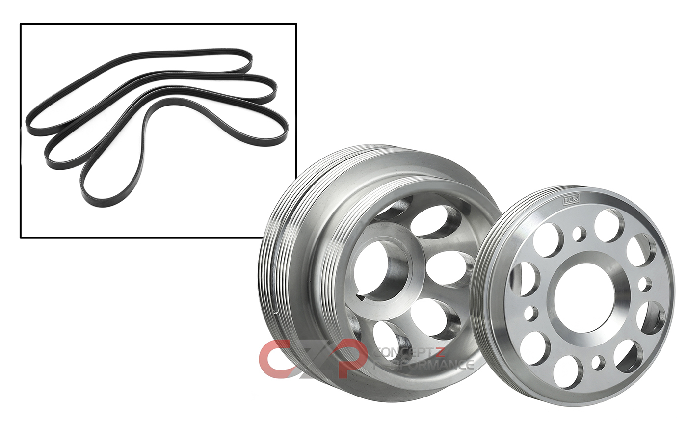 Unorthodox Racing CU1061B.WS10161 Crank Pulley w/ Overdrive Water Pump Pulley Package w/ Belts - Nissan 300ZX 90-93 TT Z32