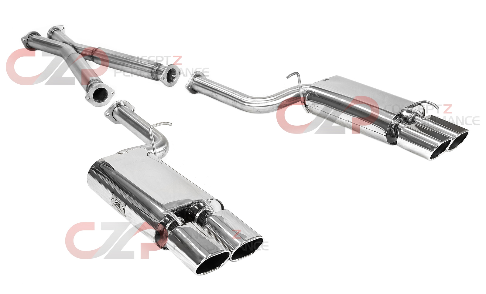 "B&B Stainless Stee Catback Exhaust System, 2.5"" Pipe w/ Quad 4.5"" Oval Tips, Resonated - Nissan 300ZX 90-95 Z32"