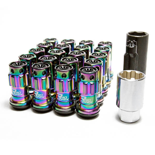 Project Kics WRIF13NK R40 Iconix Lug Nuts w/ Locks Neo-Chrome w/ Plastic Cap M12X1.25, Black