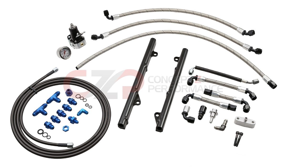 AAM Competition AAM35FS-FRSBFR Stage 1 Fuel Rail Return System Complete w/ Rails Kit, VQ35DE - Nissan 350Z / Infiniti G35