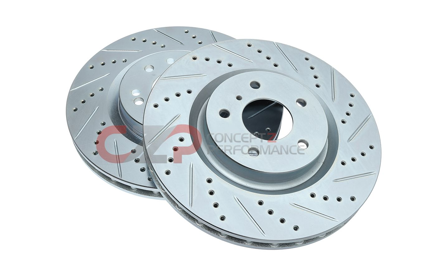 P2M Brake Rotors, Drilled / Slotted, Front Pair w/ Standard Non-Sport Calipers - Nissan 350Z 03-05 / Infiniti G35 03-04 RWD, 03-05 AWD