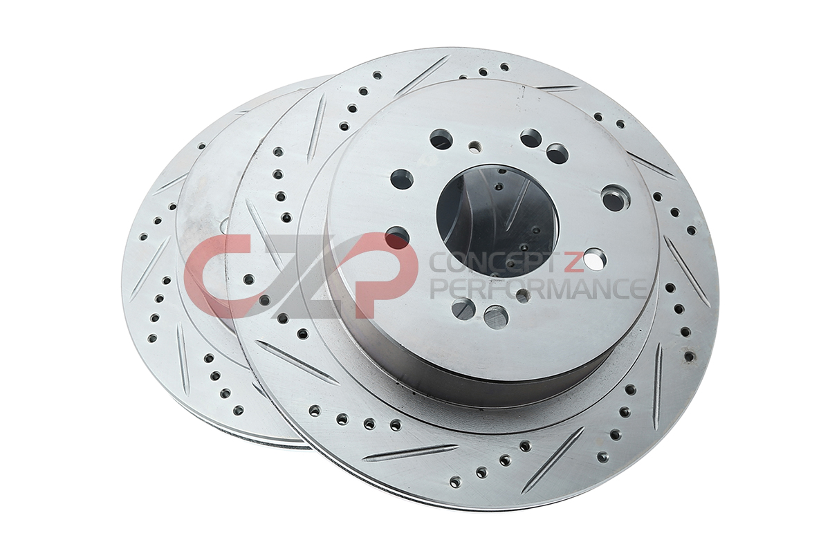 P2M Brake Rotors, Drilled / Slotted, Rear Pair w/ Standard Non-Sport Calipers - Nissan 350Z 03-05 / Infiniti G35 03-04 RWD, 03-05 AWD