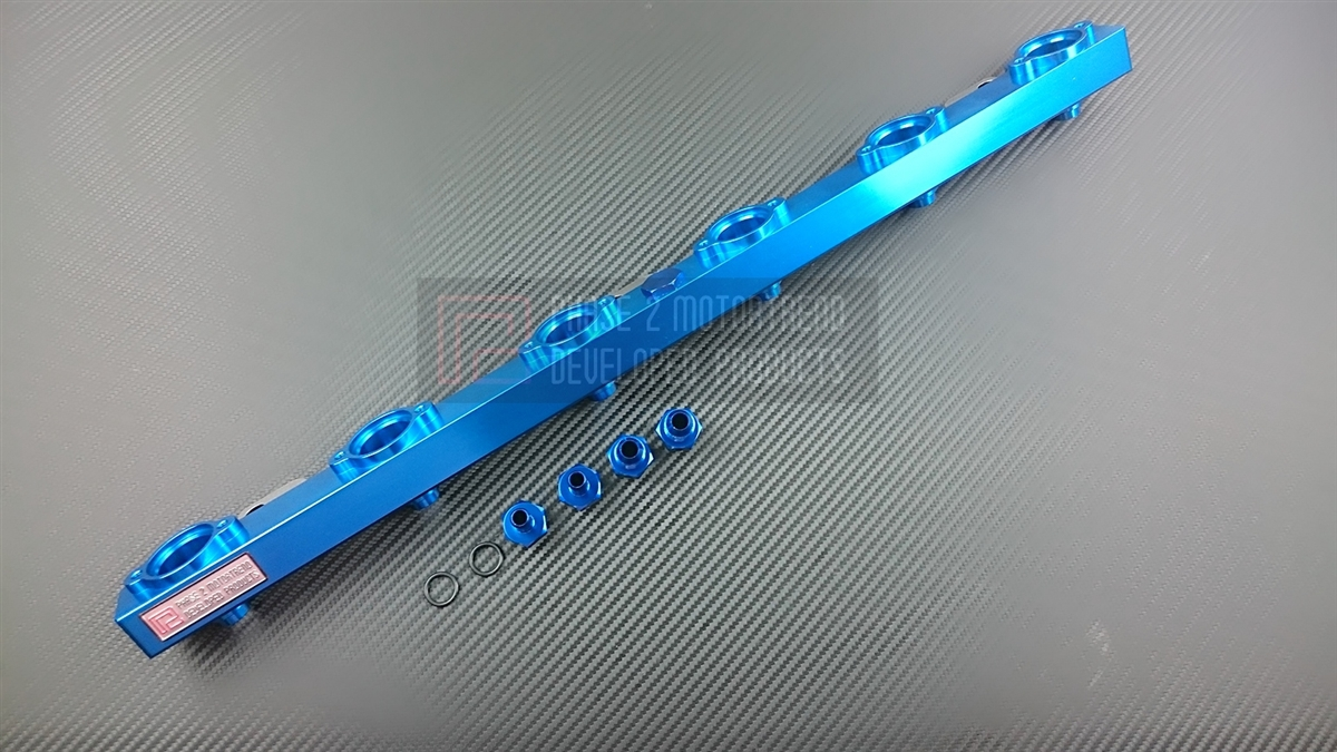 P2M P2-FRKSRB25-WSK Billet Aluminum High Flow Fuel Rail for Stock Type Injectors, Anodized Blue - Nissan RB25