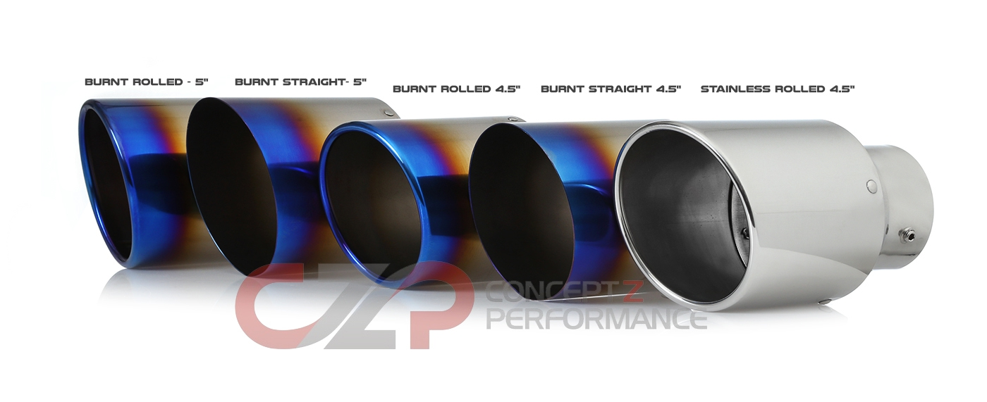 "Motordyne Premium Exhaust Tips, Titanium Burnt, Stainless, Rolled, Straight, 3"" Inlet w/ 4.5"" or  5"" Outlet"