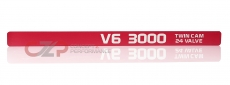 "Dewla Dezign Throttle Cable Cover Emblem Strip,  ""V6 3000 Twin Cam 24 Valve"" Red - Nissan 300ZX 90-96 Z32"
