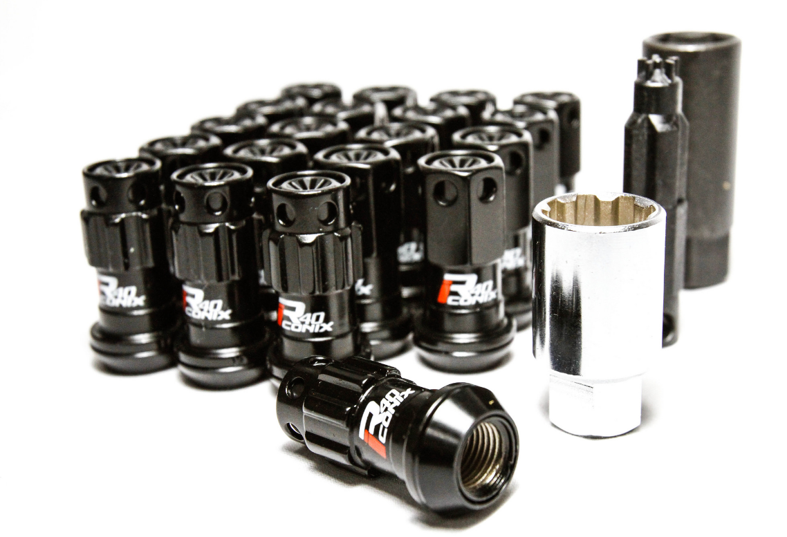 Project Kics WRIF11KK R40 Iconix Black Lug Nuts w/ Locks and w/ Black Plastic Caps, M12x1.5