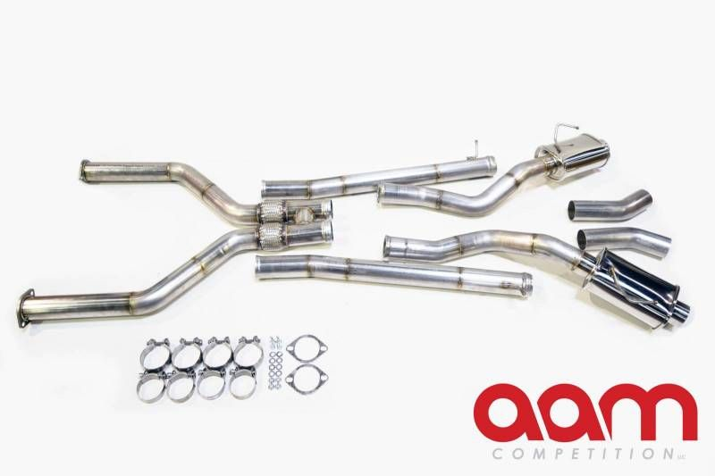 "AAM Competition 3"" True Dual Exhaust System - Infiniti Q50 16+ 3.0t Silver / Red Sport V37"