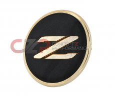 Nissan JDM Center Nose Panel Emblem, Black w/ Gold Trim - Nissan 300ZX Z32