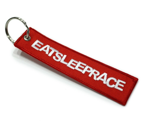 Eat Sleep Race Red Embroidered Keychain