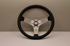 Nardi Sport Rally (Deep Corn) Steering Wheel Black Perforated Leather w/ Red Stitching & Silver Spokes - 350mm