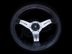 Nardi Sport Rally (Deep Corn) Steering Wheel Black Suede w/ Red Stitching & Silver Spokes - 350mm