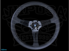 Nardi Sport Rally (Deep Corn) Steering Wheel Black Perforated Leather w/ Black Stitching & Black Spokes - 350mm