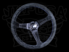 Nardi Sport Rally (Deep Corn) Steering Wheel Black Suede w/ Blue Stitching & Black Spokes - 350mm