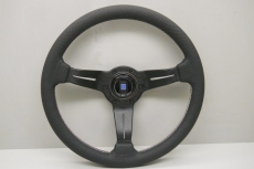 Nardi Sport Rally (Deep Corn) Steering Wheel Black Perforated Leather w/ Italian (GWR) Stitching & Black Spokes - 330mm