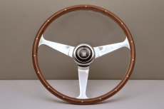 Nardi Classic Anni '50 Wood Steering Wheel w/ Rivets & Polished Spokes w/ Raised Polished Center Ring - 390mm