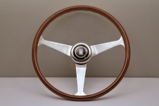 Nardi Classic Anni '60 Wood Steering Wheel Mahogany w/ Polished Patterned Spokes w/ Raised Polished Center Ring - 390mm