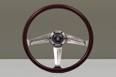 Nardi Classic ND367 Wood & Cover Steering Wheel Mahogany w/ Polished & Angled Spokes w/ Polished Center Ring - 360mm
