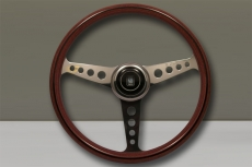 Nardi Classic Annie '60 Wood Steering Wheel Mahogany w/ Polished Bored Spokes w/ Raised Polished Center Ring - 360mm
