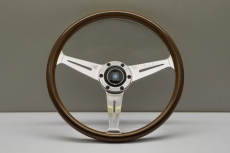 Nardi Classic Wooden Steering Wheel w/ Polished Spokes & Bored Center Ring - 360mm