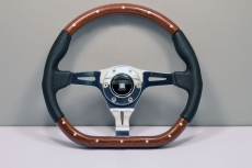 Nardi Kallista Steering Wheel Wood w/ Black Perforated Leather / Black Stitching w/ Polished Spokes & Center Ring - 350mm