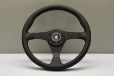 Nardi Gara 3/0 Steering Wheel Black Perforated Leather / Red Stitching w/ Black Spokes & Center Ring - 350mm