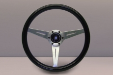 Nardi Marine Steering Wheel Black Plastic w/ Satin Silver Spokes & Center Ring - 360mm