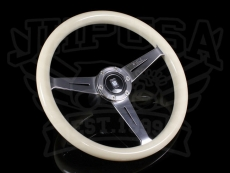Nardi Marine Steering Wheel White Ivory w/ Polished Spokes & Center Ring - 360mm